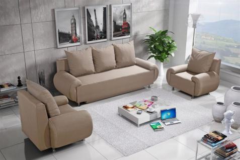 Sofa Set MIKA 3-1-1 Sofagarnitur in Polyesterstoff Beige