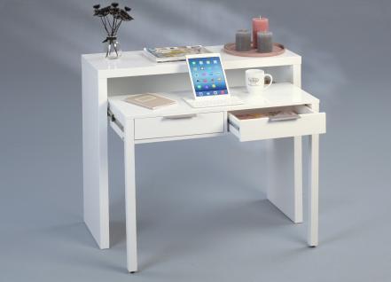 Schreibtisch Bürotisch Tisch - Amir - 98x38cm - MDF Hochglanz Weiss