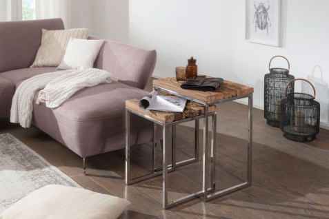 Couchtisch Beistelltisch 2er Set NAPO Materialmix Massivholz & Metall