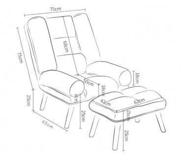 Relaxsessel Sessel VENICE verstellbar in Stoff Dunkelgrau inkl.Hocker - Vorschau 3
