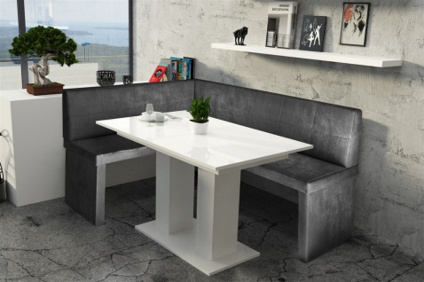 Eckbankgruppe 196x142 cm ROBIN XL R Vin..Schwarz/ Tisch DANTE Weiss