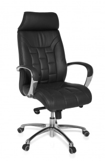 Drehstuhl Bürostuhl Chefsessel ARONA -Echtleder Schwarz