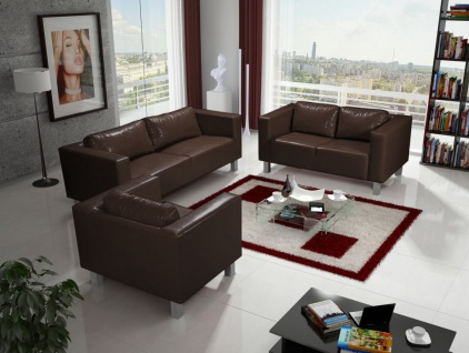 Sofa Set MAILAND 3-2-1 Sofagarnitur in Kunstleder Dunkelbraun