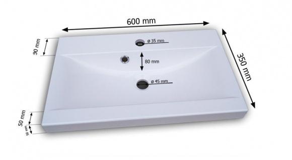 Badmöbel Set 5-Tlg Weiss Hochglanz - Dream- inkl.Waschtisch inkl.LED - Vorschau 3