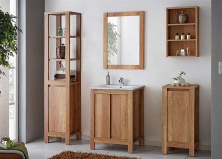 Badmöbel Set 5-tlg Badezimmerset KLASSIK Eiche inkl.Waschtisch 60 cm