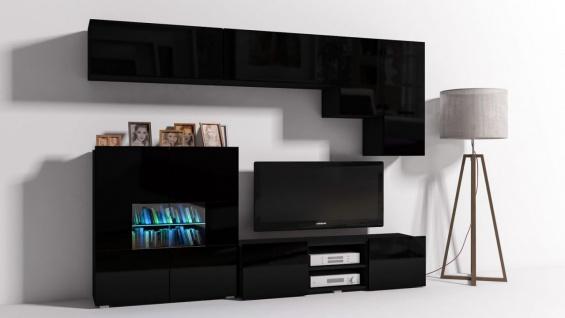 Mediawand Wohnwand 6 tlg - Konzept 21 - Schwarz Hochglanz + LED