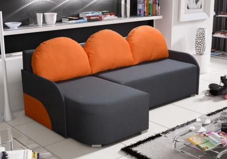 Ecksofa Sofa CANDY mit Schlaffunktion Ottomane Links Anthrazit/ Orange