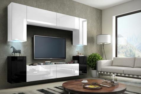Mediawand Wohnwand 8 tlg -Konzept 1- Weiss/Schwarz HGL mit LED-Beleuchtung