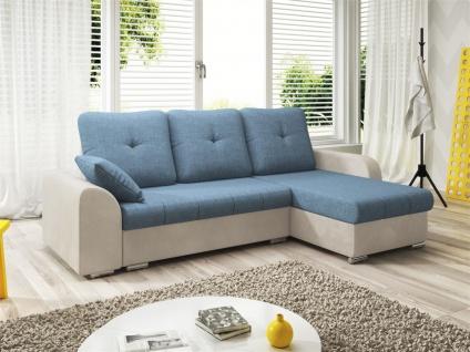Ecksofa Sofa DEKOS mit Schlaffunktion Weiss / Hellblau Ottomane Rechts