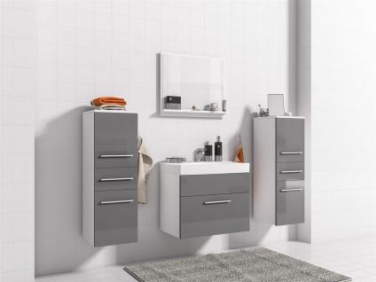 Badmöbel Set 5-Tlg Weiss / Grau Hochglanz LIVO XS inkl.Waschtisch