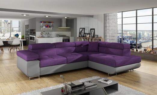 Couchgarnitur JADE Grau-Violett mit Schlaffunktion Ottomane Rechts