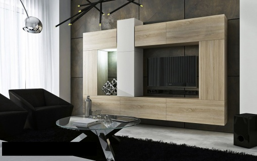 Mediawand Wohnwand 10 tlg - Konzept 22 - Sonoma matt/ Weiss Hochglanz
