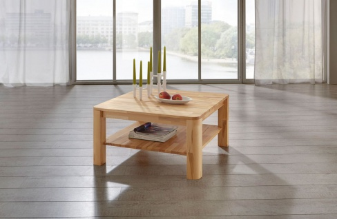 Couchtisch Tisch FRED Eiche vollmassiv / Echtholz 120 x 80 cm