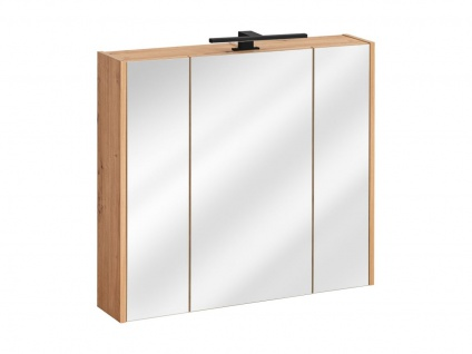 Badezimmer Spiegelschrank 80x72cm PANTIN Grau inkl.LED