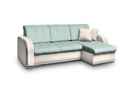Ecksofa Sofa LINDO mit Schlaffunktion Beige-Mint Ottomane Rechts