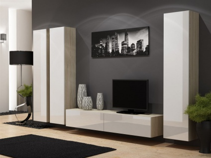 Mediawand Wohnwand 4 tlg - SENTIC 13 - Sonoma / Weiß Hochglanz