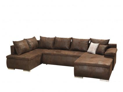 Couchgarnitur Camilla U-Form Bezug in Vintage-Braun