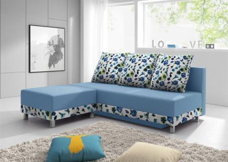 Sofa Schlafsofa KIRA inklusive Bettkasten und Hocker Hellblau