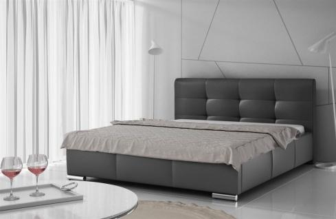 Polsterbett Bett Doppelbett TAYLOR Kunstleder Schwarz 180x200cm