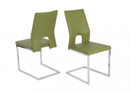 Esszimmerstühle Stühle Freischwinger 4er Set LAURO Kunstleder Grün
