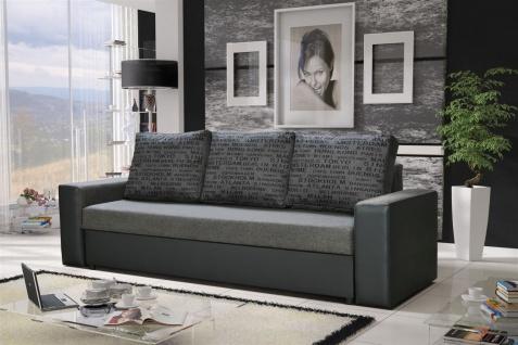 Sofa Designersofa LEEDS 3-Sitzer mit Schlaffunktion Grau / Hellgrau