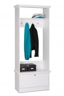 """Kompakt Garderobe """" HOME"""" 80x200x35 cm mit Sitzbank in Weiss Landhaushausstil"""
