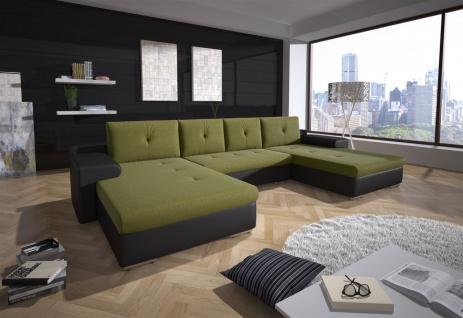 Couchgarnitur FLORENZ U-Form mit Schlaffunktion Schwarz / Olivgrün