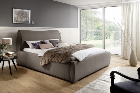Polsterbett Bett Doppelbett - CARAS - 180x200 cm im Stoffbezug Beige