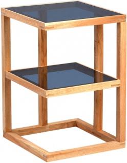 Beistelltisch Tisch SUMA 40x40 cm Walnuss massiv geölt / ESG Glas grau - Vorschau 4