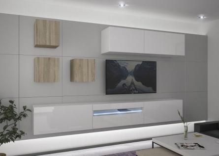 Mediawand Wohnwand 8 tlg - NEXI 10 - Weiss HGL- Sonoma matt inkl.LED