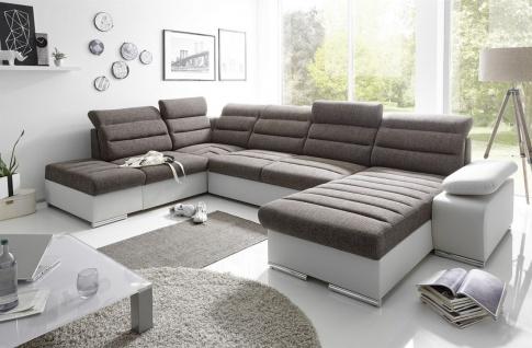 Couchgarnitur PASCARA U-Form mit Schlaffunktion-Grau /Ottomane Rechts