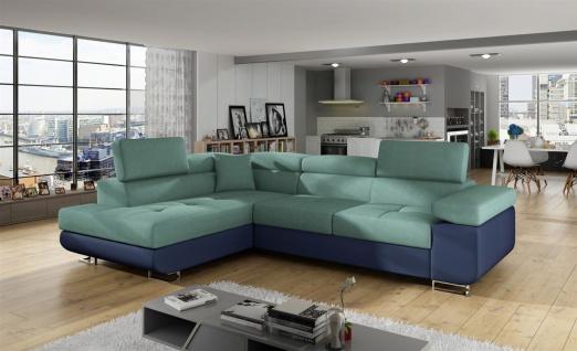 Couchgarnitur JADE Blau-Meeresgrün mit Schlaffunktion Ottomane Links