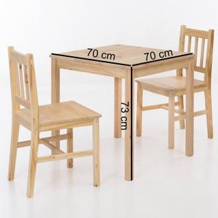 Tischgruppe BREMEN Kiefer massiv Natur 1 Tisch 70x70 und 2 Stühle - Vorschau 2