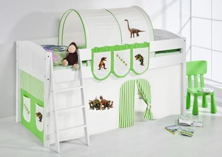 Spielbett Bett -LANDI - Dino Grün -Teilbar - Kiefer Weis-mit Vorhang