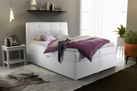 Boxspringbett Schlafzimmerbett MONZA Kunstleder Weiss 100x200 cm - Vorschau 1