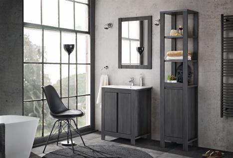 Badmöbel Set 3-tlg Badezimmerset KLASSIK Grau inkl.Waschtisch 60 cm