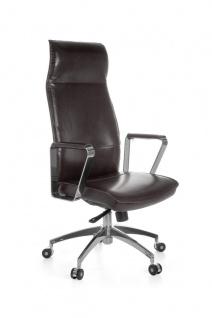 Drehstuhl Bürostuhl Chefsessel AVILA -Echtleder Braun