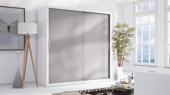 Schiebetürenschrank Schrank LUND Weiss/ Grau matt 200x215 cm