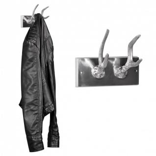 Garderobenhaken 2er Hirschhörner aus Aluminium Hörner Farbe Silber