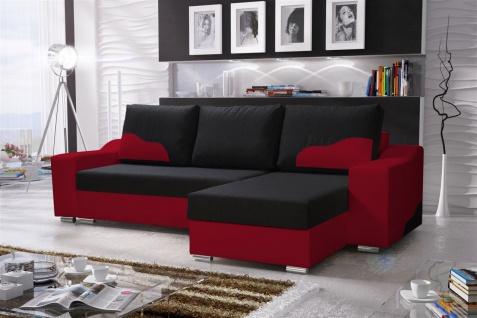 Ecksofa Sofa COLLIN mit Schlaffunktion Rot / Schwarz Ottomane Rechts