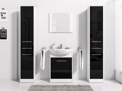 Badmöbel Set 5-Tlg Weiss / Schwarz HGL SEVILLA XL inkl.Waschtisch
