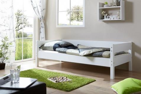Tagesbett-Bett ROKSI Buche Massiv Weiss Lackiert 90x200 cm