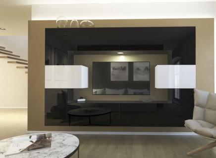Mediawand Wohnwand 10 tlg - NEXI 1 - Schwarz /Weiss Hochglanz inkl.LED