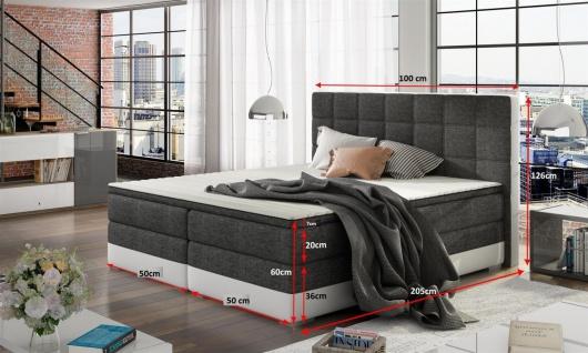 Boxspringbett Bett PRATO Webstoff Schwarz/ Rot 100x200cm - Vorschau 3