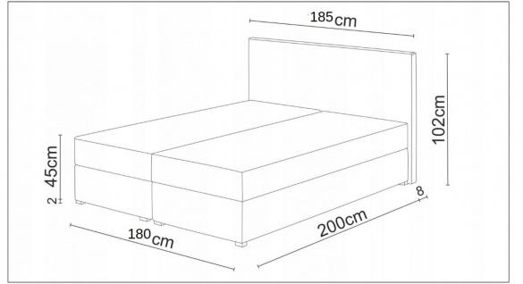 Boxspringbett Schlafzimmerbett RAINBOW 180x200cm Variante Nr.1 - Vorschau 5