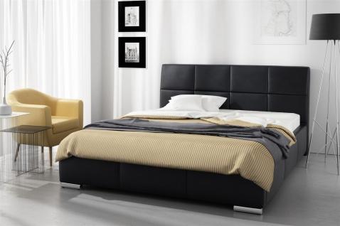 Polsterbett Bett Doppelbett HANNES Kunstleder Schwarz 140x200cm