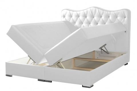 Boxspringbett Schlafzimmerbett SULTAN Kunstleder Weiss 100x200cm - Vorschau 2