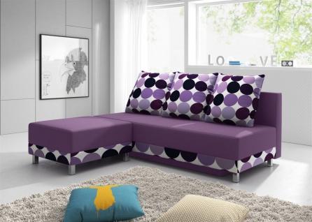 Sofa Schlafsofa KIRA inklusive Bettkasten und Hocker Violett