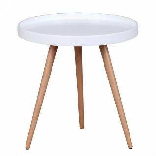 Beistelltisch Tisch ALVA 50x50 cm Weiss matt/ Buche - Vorschau 3