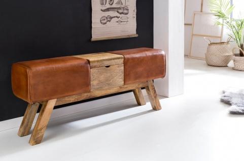 Sitzbank Bank BULL Massivholz Echtleder Braun mit Box 120x29x53cm